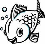Big cartoon fish with bubbles Stock Photo - Royalty-Free, Artist: Denis_Barbulat                , Code: 400-06513064