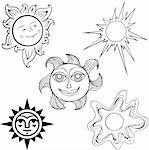 Set of different suns on white background Stock Photo - Royalty-Free, Artist: Denis_Barbulat                , Code: 400-06513103