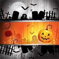 Halloween card design with pumpkin and cemetery Stock Photo - Royalty-Freenull, Code: 400-06513198