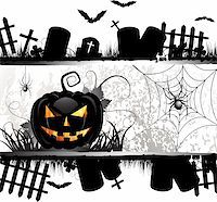 Halloween card design with pumpkin and ghost house Stock Photo - Royalty-Freenull, Code: 400-06513202