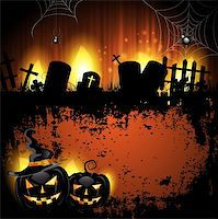 Halloween background with cemetery and pumpkin Stock Photo - Royalty-Freenull, Code: 400-06513214
