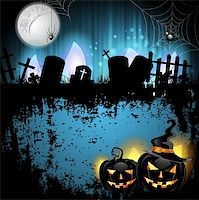 Halloween background with cemetery and pumpkin Stock Photo - Royalty-Freenull, Code: 400-06513215