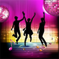 Musical notes with disco ball and silhouettes Stock Photo - Royalty-Freenull, Code: 400-06513347