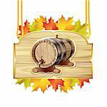 Wood barrel for wine with autumn colorful leaves Stock Photo - Royalty-Free, Artist: Merlinul                      , Code: 400-06513444