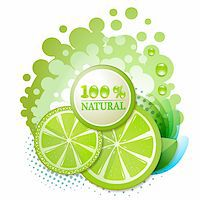 Slice of lime with percentage quality Stock Photo - Royalty-Freenull, Code: 400-06513460