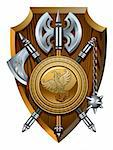 Coat of arms: labrys, axe, Morgenstern and shield, vector illustration Stock Photo - Royalty-Free, Artist: ensiferum                     , Code: 400-06514393