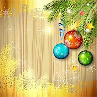 Wood background with Christmas ball and pine tree branch Stock Photo - Royalty-Freenull, Code: 400-06514631