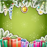 Green background with Christmas gifts and ball Stock Photo - Royalty-Freenull, Code: 400-06514642