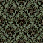 seamless floral damask brocade pattern background vector Stock Photo - Royalty-Free, Artist: 100ker                        , Code: 400-06515022