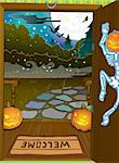 Halloween night background with pumpkins on porch and witch silhouette. EPS10 contain transparent fog, moon light Stock Photo - Royalty-Free, Artist: aerial6                       , Code: 400-06515070