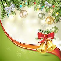 Christmas bells with pine tree Stock Photo - Royalty-Freenull, Code: 400-06515275