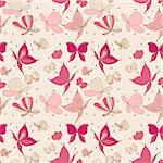 Seamless pattern of Butterflies in pink Stock Photo - Royalty-Free, Artist: waterlilly                    , Code: 400-06516098