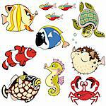 sea fishes and animals,vector set,cartoon pictures isolated on white background Stock Photo - Royalty-Free, Artist: insima                        , Code: 400-06517162