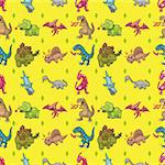 seamless dinosaur pattern,cartoon vector illustration Stock Photo - Royalty-Free, Artist: notkoo2008                    , Code: 400-06517345