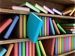 Illustration of a bookcase with a books different colour Stock Photo - Royalty-Free, Artist: FotoVika                      , Code: 400-06517767