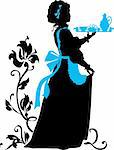 Housemaid silhouette with floral background Stock Photo - Royalty-Free, Artist: Flamewave                     , Code: 400-06518312