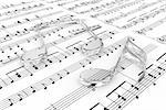 Glass musical notes on a  background written notes Stock Photo - Royalty-Free, Artist: FotoVika                      , Code: 400-06519190