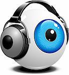 Eye with headphones Stock Photo - Royalty-Free, Artist: jara3000                      , Code: 400-06519279