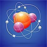 3D Realistic Atom Model, vector icon on blue background Stock Photo - Royalty-Free, Artist: TAlex                         , Code: 400-06520149