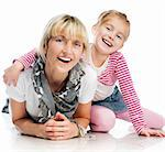 mother with little daughter smiling over white background Stock Photo - Royalty-Free, Artist: GekaSkr                       , Code: 400-06520356