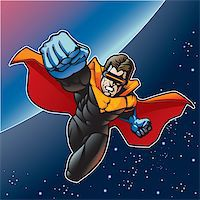 superhero - Super hero with cape flying above a planet. Stock Photo - Royalty-Freenull, Code: 400-06521999