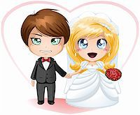 A vector illustration of a bride and groom dressed for their wedding day. Stock Photo - Royalty-Free, Artist: LironPeer, Code: 400-06522271