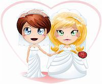 A vector illustration of lesbians dressed for their wedding day. Stock Photo - Royalty-Freenull, Code: 400-06522273