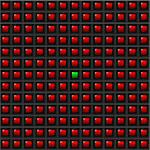 Black Abstract background with red squares, only one green Stock Photo - Royalty-Free, Artist: catalby                       , Code: 400-06522704
