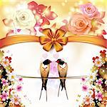 Two swallows with hearts and flowers Stock Photo - Royalty-Free, Artist: Merlinul                      , Code: 400-06522975