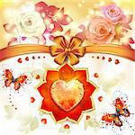 Valentine's day card with hearts and roses Stock Photo - Royalty-Free, Artist: Merlinul, Code: 400-06522979