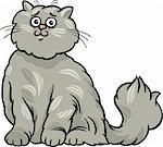 Cartoon Illustration of Cute Gray Long Hair Persian Cat Stock Photo - Royalty-Free, Artist: izakowski                     , Code: 400-06523039