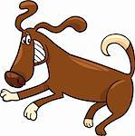 Cartoon Illustration of Funny Running Playful Dog Stock Photo - Royalty-Free, Artist: izakowski                     , Code: 400-06523049