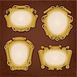 Set of vintage vector frames cartouches scrolls Stock Photo - Royalty-Free, Artist: digiselector                  , Code: 400-06523922