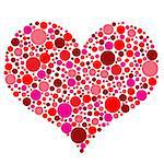 Valentines Day heart in red dots on white background, vector illustration Stock Photo - Royalty-Free, Artist: roxanabalint                  , Code: 400-06525377