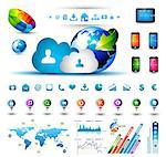 Infographic elements for cloud computing - set of paper tags, technology icons, graphs, paper tags, arrows, world map and so on. Ideal for statistic data display. Stock Photo - Royalty-Free, Artist: DavidArts                     , Code: 400-06525651