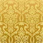 Seamless classic retro gold wallpaper pattern. Nice to use as background. Stock Photo - Royalty-Free, Artist: oakozhan                      , Code: 400-06526199