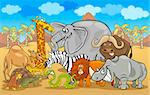 Cartoon Illustration of Funny Safari Wild Animals Group against Blue Sky and African Landscape Stock Photo - Royalty-Free, Artist: izakowski                     , Code: 400-06527084