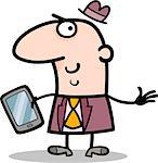 Cartoon Illustration of Man or Businessman with Tablet PC or Mobile Phone Stock Photo - Royalty-Free, Artist: izakowski                     , Code: 400-06527099