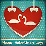 Valentines Greeting Card. Heart with Swans on Blue Retro Background. Vector Illustration. Stock Photo - Royalty-Free, Artist: elfivetrov                    , Code: 400-06527904