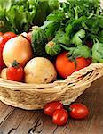 fresh vegetables and herbs mix in a wicker basket Stock Photo - Royalty-Free, Artist: Dream79                       , Code: 400-06528568