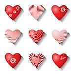 Heart icons. Valentine design elements set. Vector art. Stock Photo - Royalty-Free, Artist: troyka                        , Code: 400-06529395