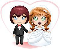 A vector illustration of a bride and groom dressed for their wedding day. Stock Photo - Royalty-Freenull, Code: 400-06529418