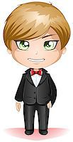 A vector illustration of a groon dressed in black suit for his wedding day. Stock Photo - Royalty-Freenull, Code: 400-06529477