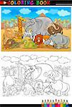 Cartoon Illustration of Funny Safari Wild Animals like Elephant, Rhino, Lion, Zebra, Giraffe and Monkey for Coloring Book or Coloring Page Stock Photo - Royalty-Free, Artist: izakowski                     , Code: 400-06529553