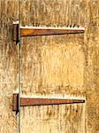 Two rusty hinges on an old wooden door Stock Photo - Royalty-Free, Artist: Dutourdumonde                 , Code: 400-06529682