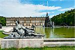 Statue and Water Fountain in front of New Herrenworth Palace, Herrenchiemsee, Herreninsel, Chiemsee, Oberbayern, Bavaria, Germany