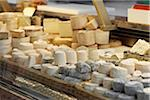 Fresh wedges and rounds of French goat cheese in artisan cheese shop, La Fromagerie, Paris, France Stock Photo - Premium Rights-Managed, Artist: Michael Mahovlich, Code: 700-06531958
