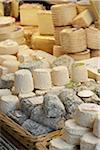 Fresh wedges and rounds of French goat cheese in artisan cheese shop, La Fromagerie, Paris, France Stock Photo - Premium Rights-Managed, Artist: Michael Mahovlich, Code: 700-06531959