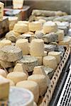 Fresh wedges and rounds of French goat cheese in artisan cheese shop, La Fromagerie, Paris, France Stock Photo - Premium Rights-Managed, Artist: Michael Mahovlich, Code: 700-06531961
