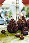 crafty pear decorations made from coffee beans with chestnuts on a tabletop Stock Photo - Premium Rights-Managed, Artist: Yvonne Duivenvoorden, Code: 700-06532023